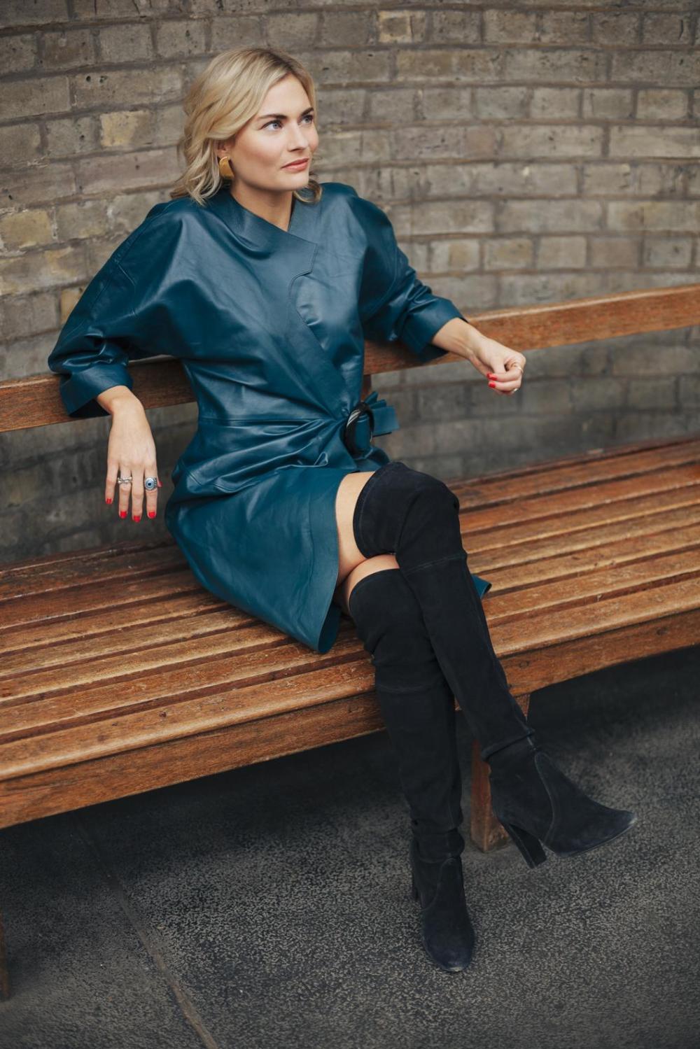 Pandora green leather dress - Copy