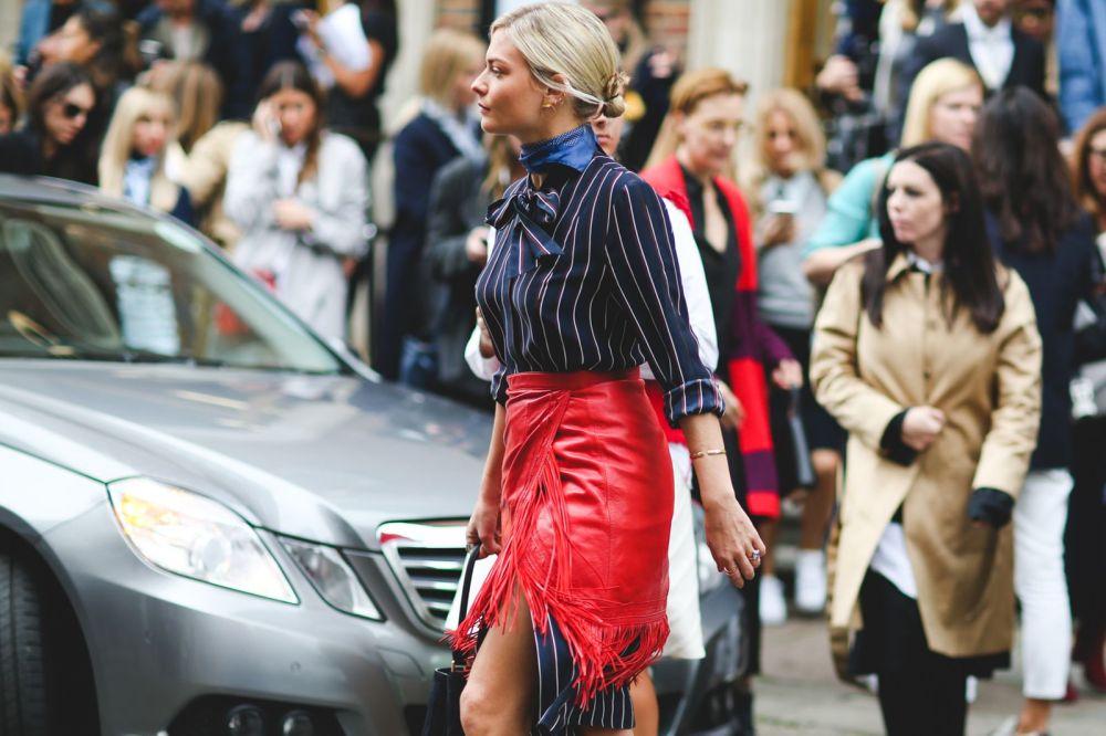 Pandora Sykes! Red Skirt over striped shirt - Copy