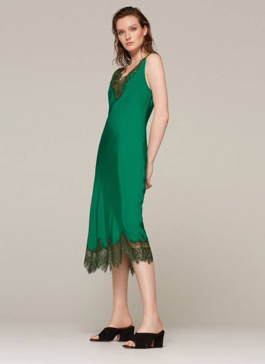 uterque silk green dress 2