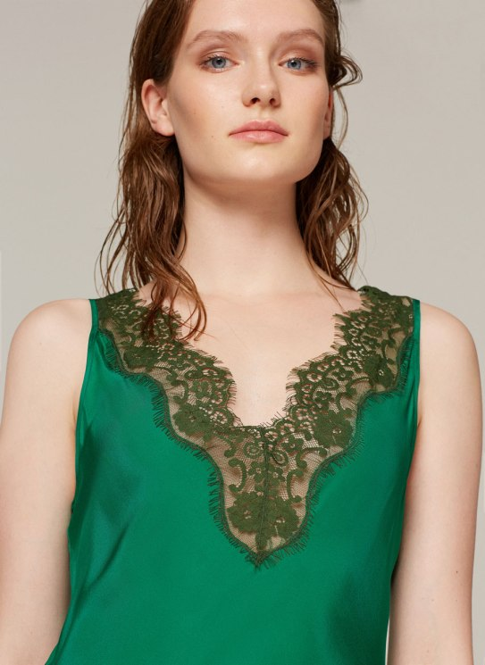 uterque silk green dress